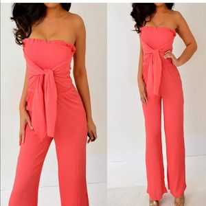 Rue21 Coral Pink Tube Strapless Romper S NWT